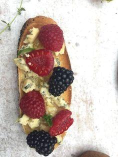 blue stilton, fresh berries, mint, olive oil