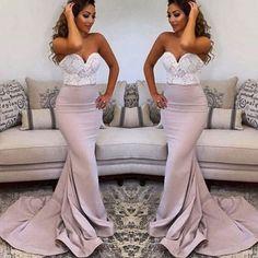 Sweetheart Lace Top Mermaid Popular Long Prom Bridesmaid Dresses, BG51481