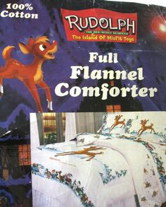 UNUSED Rudolph Island of Misfit Toys FULL Flannel COMFORTER Red Nose Reindeer