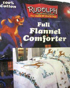 UNUSED Rudolph Island of Misfit Toys FULL Flannel COMFORTER Red Nose Reindeer
