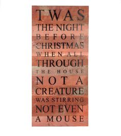 Twas The Night Before Christmas Reclaimed Wood Art Sign - 24-in x 12-in