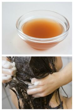 Apple Cider Vinegar Hair Rinse: Apply apple cider vinegar after your regular shampoo to restore shine and clear away buildup