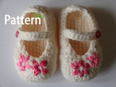 Crochet Pattern (PDF file) Baby Embroidered Shoes - In 4 sizes. via Etsy