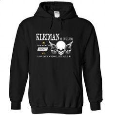 KLEIMAN - Rule8 KLEIMANs rules - #funny shirt #hooded sweatshirt. ORDER NOW => https://www.sunfrog.com/Names/KLEIMAN--Rule8-KLEIMANs-rules-ymqvruderv-Black-45206605-Hoodie.html?68278