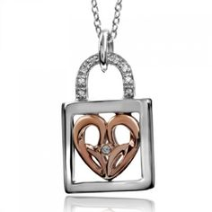 """Jessica Simpson, """"I Am Irresistible"""", 10K Rose Gold and Sterling Silver Heart Lock Necklace, .05 ctw."""