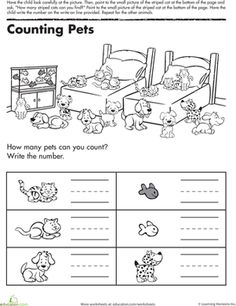 Kindergarten Writing Numbers Counting & Numbers Worksheets: Counting Pets