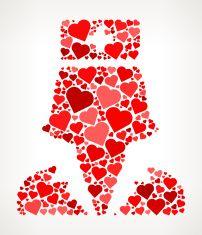 Nurse Red Hearts Love Pattern vector art illustration