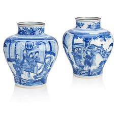 A pair of blue and white baluster jars in the Kangxi style