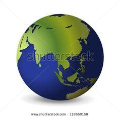 illustration of the globe asia