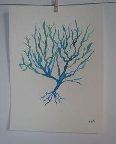 Watercolor Sea Fan 3 by DivineDecorium on Etsy