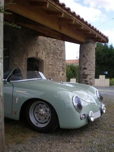 """Porsche 356 Speedster 1957 -  with low, raked windscreen [removable for weekend racing], bucket seats and minimal folding top. Production of the Speedster peaked at 1,171 cars in 1957 and then started to decline. It was replaced in late 1958 by the """"Convertible D"""" model. In 1959 356B """"Roadster"""" convertible replaced the D model. The soft-top 356 model sales declined significantly in the early 1960s."""