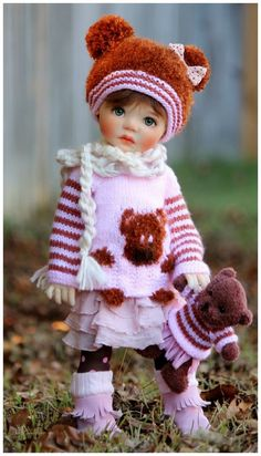 """Pink brown bear outfit for Saffi 18"""" doll My Meadow friend to Kaye Wiggs by Barb #OutfitforBJDSaffiMyMeadow"""