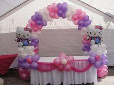 Ideas Birthday Girl Balloons Hello Kitty For 2019 Hello Kitty Baby Shower, Hello Kitty Bow, Hello Kitty Themes, Hello Kitty Birthday Theme, Girl 2nd Birthday, Birthday Party Tables, 1st Birthday Parties, Birthday Cakes, Balloon Decorations