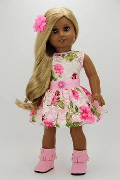 Handmade 18 inch doll clothes - Pink lace 2 piece blossom dress outfit (780)
