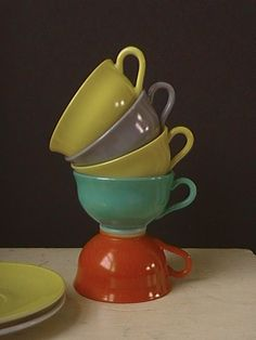 Hazel Atlas Ovide Platonite Cups and Saucers by nddevens on Etsy, $25.00