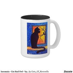 Home decor for Kids Room. Cat mug Insomnia - Cat And Owl Art for kids By Dora Hathazi Mendes for kids, halloween, cat, owl, night, insomnia, halloween, black cat, predators, hunters, hunter animal, feline, cat lovers, pet, bird, nocturnal, homedecor, whimsy cat, dawn, sun, warm tones, quirky cat, bright colours, beautyful, mosaic, dots, dreamlike, calm, silent, peaceful, motionless, cat and owl, instinct, painting, unique, cute cat, gift, print, whimsical #dorahathazi