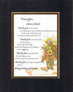 Touching and Heartfelt Poem for Parents - Thank You, Mom and Dad Poem on 11 x 14 inches Double Beveled Matting (Burgundy)