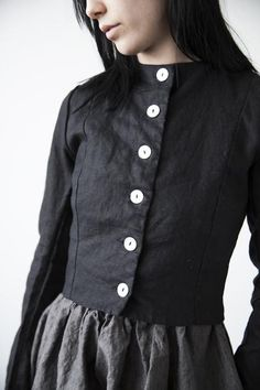 """Daphne Cropped Linen Jacket www.ovate.ca//////// Love this, how quiet the charcoal and deep dove grey are....and what authority this projects.....not loud or brassy, just  a """"presence""""."""