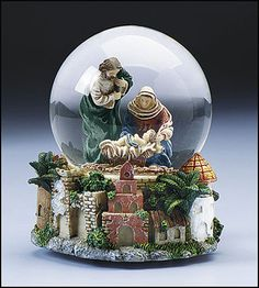 CHRISTIAN RELIGIOUS CHRISTMAS GIFT MUSICALSILENT NIGHT JESUS NATIVITY SNOWGLOBE