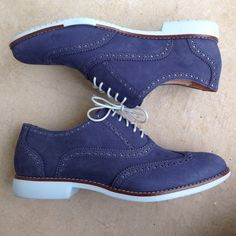 """Cole Haan Gramercy Oxfords shoes blue nubuck Want these in my size so badly! The """"Gramercy"""" women's Oxford. These lace ups are a beautiful blue nubuck leather. fantastic condition inside and out. Check out my closet, also have a similar style in tan/peach! Cole Haan Shoes Flats & Loafers"""