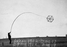 Alexander Graham Bell's kite with six triangular cells in flight.