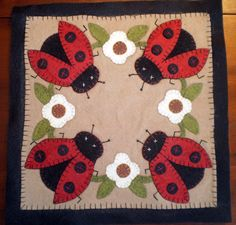 LADY BUGS Penny Rug Instant Download$..great inspiration!