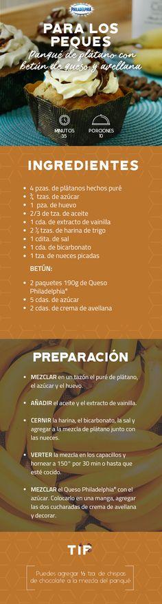 Deleita el paladar de tus peques con este Panqué de plátano con betún de queso y avellana. #recetas #receta #quesophiladelphia #philadelphia #crema #quesocrema #queso #comida #cocinar #cocinamexicana #recetasfáciles #plátano #postre #panqué #betún #avellana #chocolate #postres #recetachocolate #recetapanqué #pan