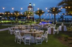 A Wedding Reception amongst our Yacht Club Lawn overlooking the waterway and Lighthouse!