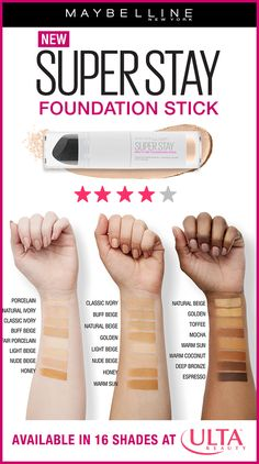 For effortless and long lasting, full coverage, try our new Maybelline Super Stay Foundation Stick! Use it to cover, conceal and touch-up while you're on-the-go. All 16 shades are available at ULTA Beauty!