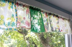 Colorful Vintage Handkerchief Valances