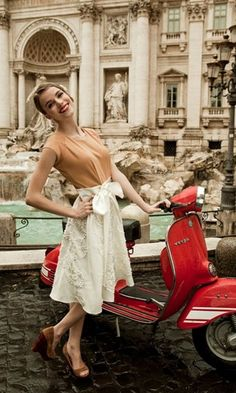 My latest Tumblr obsession, The Daily Vespa, at the Trevi Fountain. Next time I visit Rome, I'm doing it in style, preferably on this sexy scooter. Hot.
