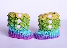 Crocodile Stitch Baby Booties Size 0 to 6 by AdorkableCrochet Baby Booties, Baby Shoes, Crocodile Stitch, Month Colors, Crochet Patterns, Crochet Ideas, Baby Feet, Crochet Baby, Wool Blend