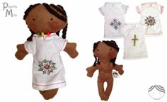 Mita is an handmade softie doll: 8 inch, necklace with the Ethiopian flag, embroidery eyes and typical Ethiopian dress. Pequeña Mita, muñeca etíope.