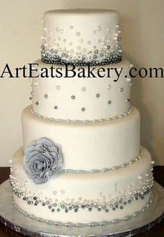 Four tier white fondant wedding cake with modern gray and white edible pearls and flower design, Could add navy! Fondant Wedding Cakes, White Wedding Cakes, Beautiful Wedding Cakes, Gorgeous Cakes, Amazing Cakes, Fancy Cakes, Cute Cakes, Pretty Cakes, Bolo Cake