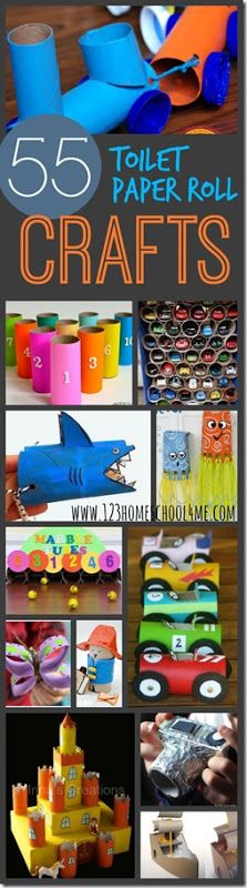 55 Creative and Unique Toilet paper roll crafts for kids - LOVE this list! So many FUN tp roll crafts for kids to use for toddlers, preschool, kindergarten, 1st grade and 2nd grade kids.