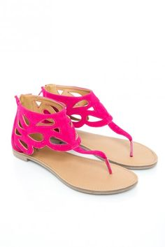 Athena Sandal in Fuchsia Velvet -- BAM! I want these!