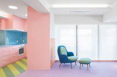 A Palette of Pastels Permeate Prolifically Within This Japanese Apartment - Design Milk Japanese Apartment, Tokyo Apartment, Apartment Design, Interior Concept, Interior Design, Japanese Bathroom, Estilo Interior, Colour Architecture, Design Blogs