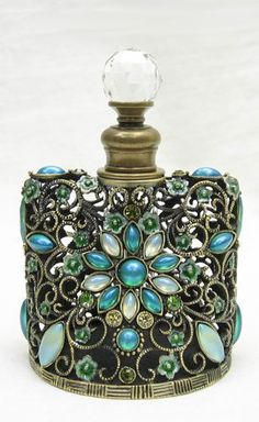 Crystal Glass Perfume Bottle ~ Elegant Sea Aqua