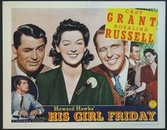 1940S Movie Posters   HIS GIRL FRIDAY Movie Poster (1940)