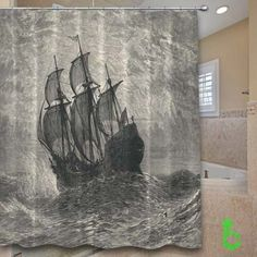 Cheap ship drawing Shower Curtain