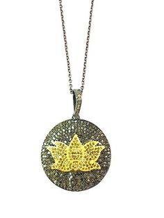 Lotus Pave Diamond Pendant Necklace with Chain, 925 Sterling Silver Lotus Diamond Charm Necklace by Amitbardia on Etsy