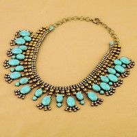 High Quality New Antique Vintage Imitated Gemstone Crystal Chunky Necklaces for Elegant Women Ladies Wholesale