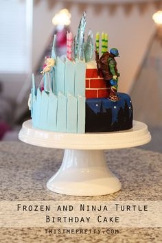 Frozen on one side, TMNT on the other!  Boy/girl birthday parties can be challenging because you want both your kids to be happy.  This is a great frozen and Ninja Turtle Birthday cake that will satisfy them both!