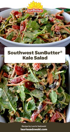 Getting tired of your kale salad? Add some variety with the flavor of southwest spices and delicious SunButter! Our dressing is made with Organic SunButter, rice vinegar, extra-virgin olive oil, pure maple syrup, chili powder, cumin, salt, orange zest, liquid smoke, and a bit of cayenne pepper for an extra kick! Kale Salad Recipes, Lunch Recipes, Liquid Smoke, Family Picnic, Pure Maple Syrup, Orange Zest, Cayenne Peppers, Rice Vinegar, Chili Powder