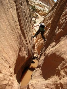 Ding and Dang Canyons in Utah's San Rafael Swell are easily the best non-technical slot canyon hike in the U.S., essentially a series of boulder problems to solve, but no rope required.