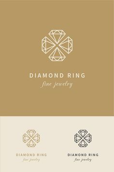 diamond logo design - geometric gold gem jeweler crystal gemstone jewel jewelry luxury simple modern clean