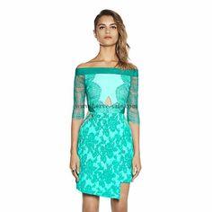 Herve Leger blaue Stickerei Einschultriges Kleid MX188B