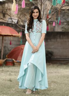 Amazing Turquoise Blue Colour High Low Suit Set - Designer Suits - Suits and Dress material - Womenswear Kurta Designs Women, Kurti Neck Designs, Dress Neck Designs, Kurti Designs Party Wear, Indian Designer Outfits, Designer Dresses, Designer Kurtis, Party Make-up, Kurti Sleeves Design