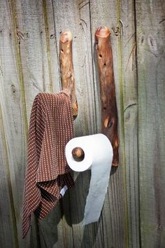 Doo-Doo Paper Holder and Towel Rack, Natural Wood Hooks made from Reclaimed Branches The Perfect Bathroom Set. Toilet Paper
