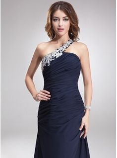 A-Line/Princess One-Shoulder Sweep Train Chiffon Evening Dress With Beading Appliques Lace (017016875) - JJsHouse